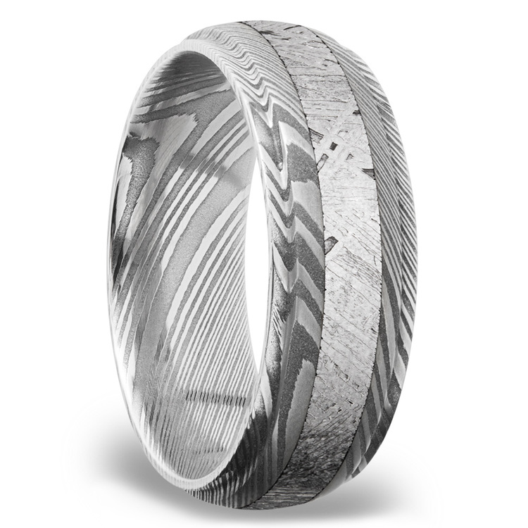 Meteorite Inlay Men's Wedding Ring with Steeped Down Edges in Damascus Steel | 02