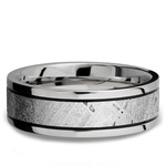 Meteorite Inlay Men's Wedding Ring in Titanium (7.5mm) | Thumbnail 03