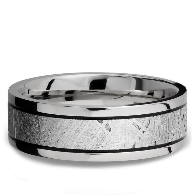 Meteorite Inlay Men's Wedding Ring in Titanium (7.5mm) | 03