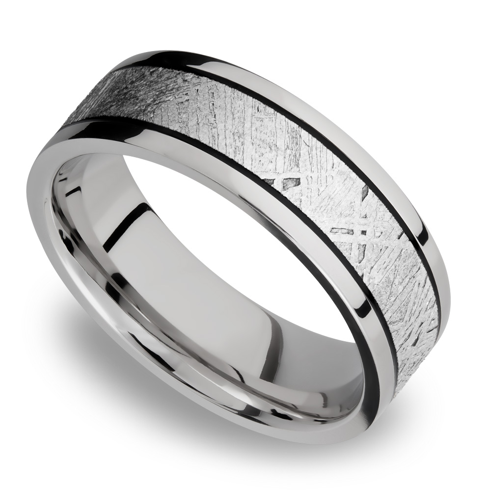 It is a picture of Titanium Mens Wedding Ring with Meteorite Inlay Lightyear by Brilliance