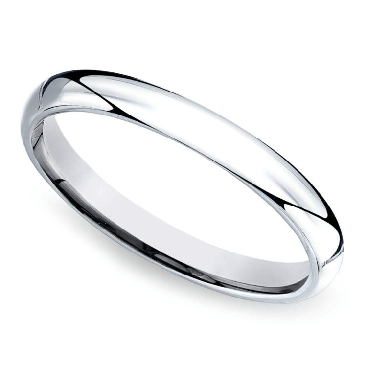 Mid-Weight Men's Wedding Ring in White Gold (3mm) | 01