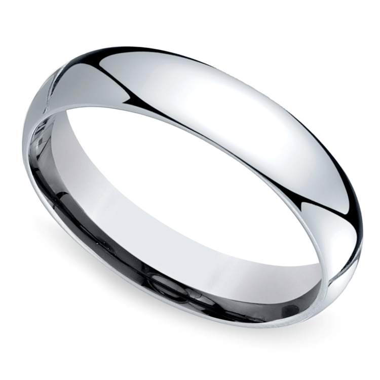 Mid-Weight Men's Wedding Ring in White Gold (5mm) | 01