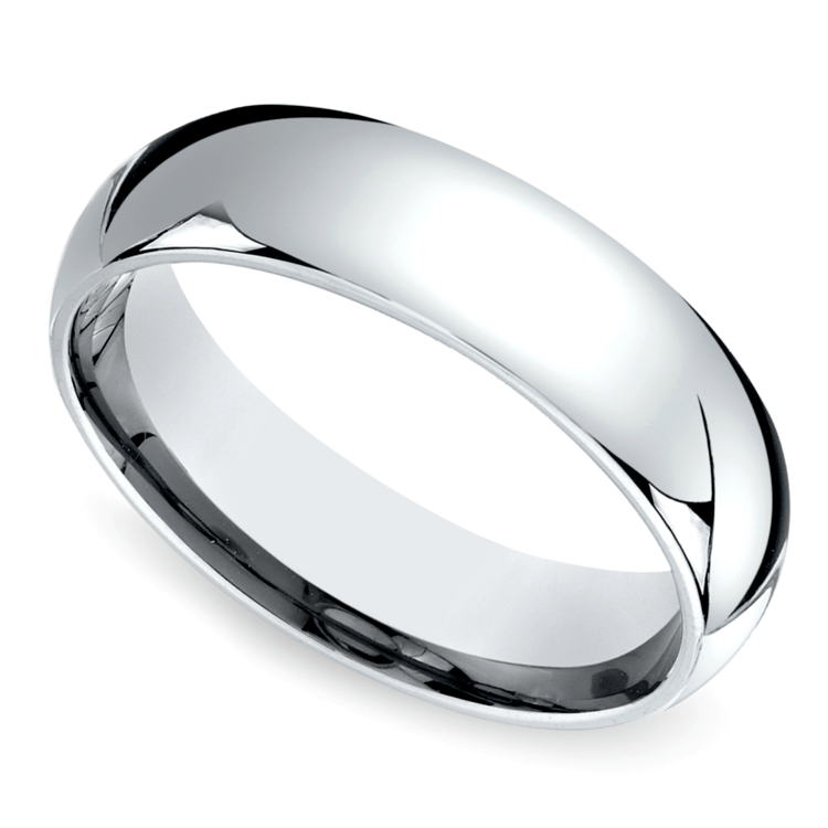 Mid-Weight Men's Wedding Ring in White Gold (6mm) | 01