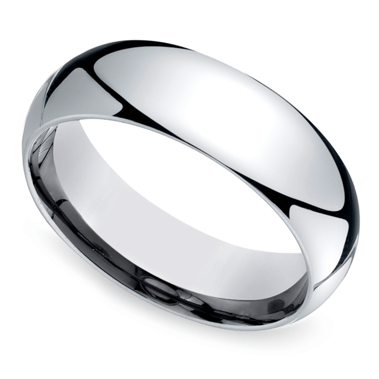 Mid-Weight Men's Wedding Ring in White Gold (7mm) | 01