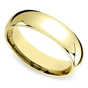 Mid-Weight Men's Wedding Ring in Yellow Gold (6mm)