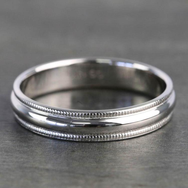 Mid-Weight Milgrain Men's Wedding Ring in Platinum   03