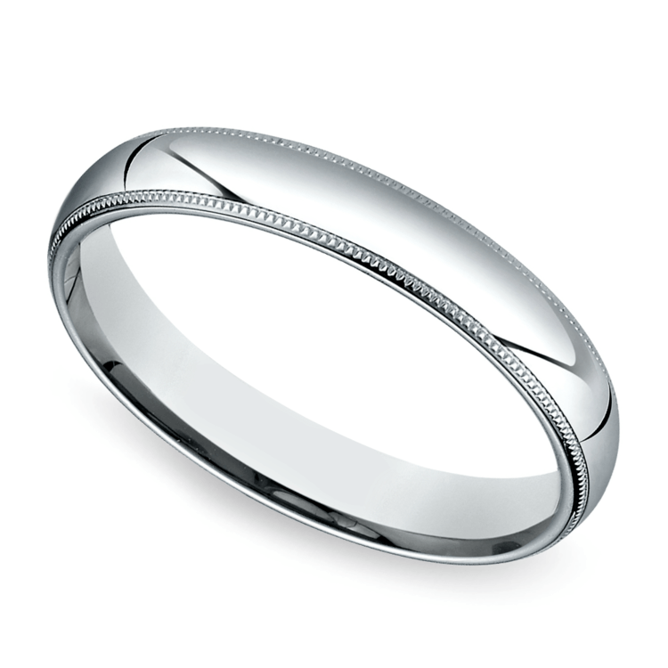 Mid-Weight Milgrain Men's Wedding Ring in Platinum (4mm) | 01