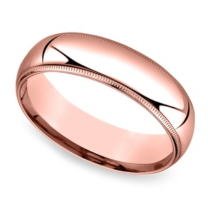Mid-Weight Milgrain Men's Wedding Ring in Rose Gold (6mm)