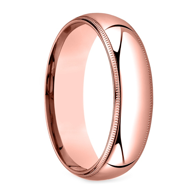 Mid-Weight Milgrain Men's Wedding Ring in Rose Gold (6mm) | 02