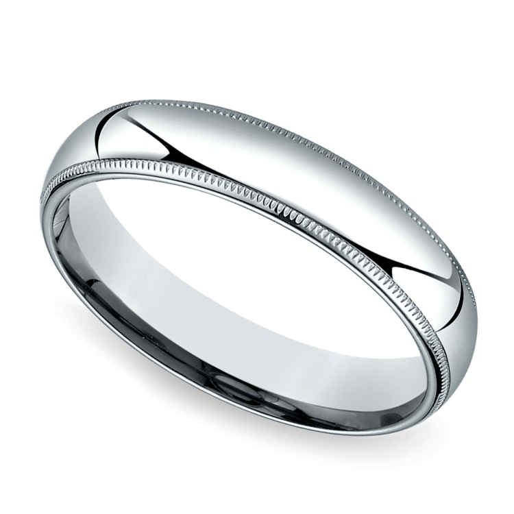 Mid-Weight Milgrain Men's Wedding Ring in White Gold (5mm) | 01
