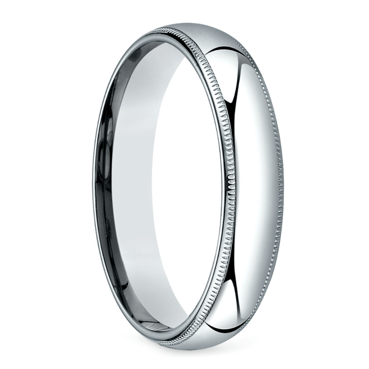 Mid-Weight Milgrain Men's Wedding Ring in White Gold (5mm) | 02