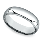 Mid-Weight Milgrain Men's Wedding Ring in White Gold (6mm) | Thumbnail 01