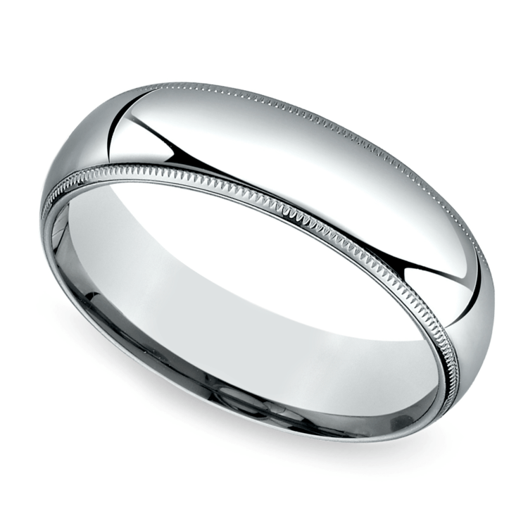 Mid-Weight Milgrain Men's Wedding Ring in White Gold (6mm) | 01