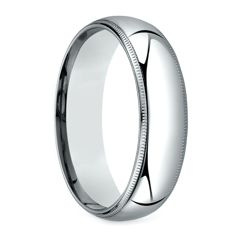 Mid-Weight Milgrain Men's Wedding Ring in White Gold (6mm) | 02