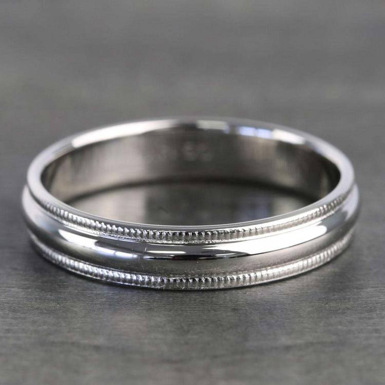 Mid-Weight Milgrain Men's Wedding Ring in White Gold (6mm) | 05