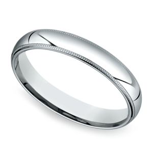 Mid-Weight Milgrain Men's Wedding Ring in White Gold (4mm)