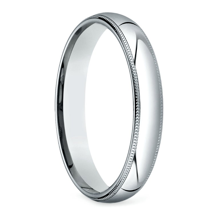 Mid-Weight Milgrain Men's Wedding Ring in White Gold (4mm) | 02