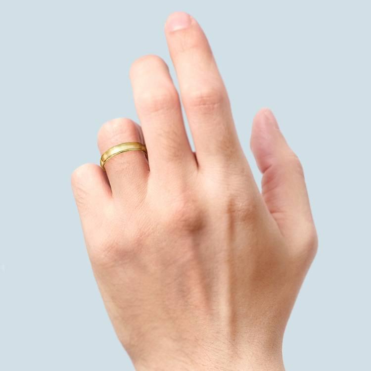 Mid-Weight Milgrain Men's Wedding Ring in Yellow Gold (5mm) | 04