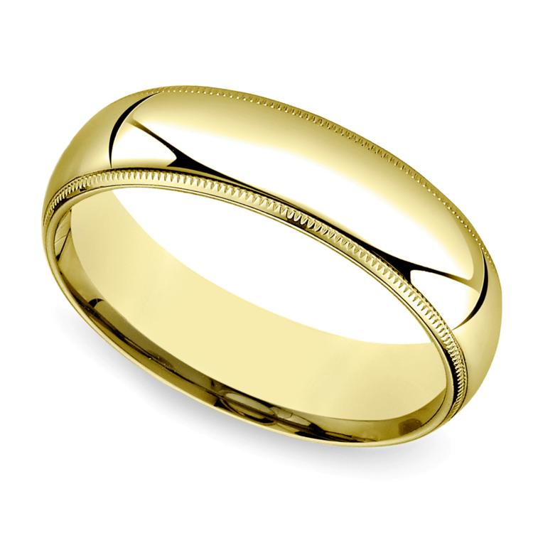 Mid-Weight Milgrain Men's Wedding Ring in Yellow Gold (6mm) | 01
