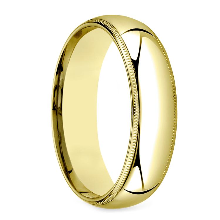 Mid-Weight Milgrain Men's Wedding Ring in Yellow Gold (6mm) | 02