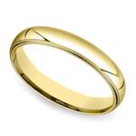 Mid-Weight Milgrain Men's Wedding Ring in Yellow Gold (4mm) | Thumbnail 01