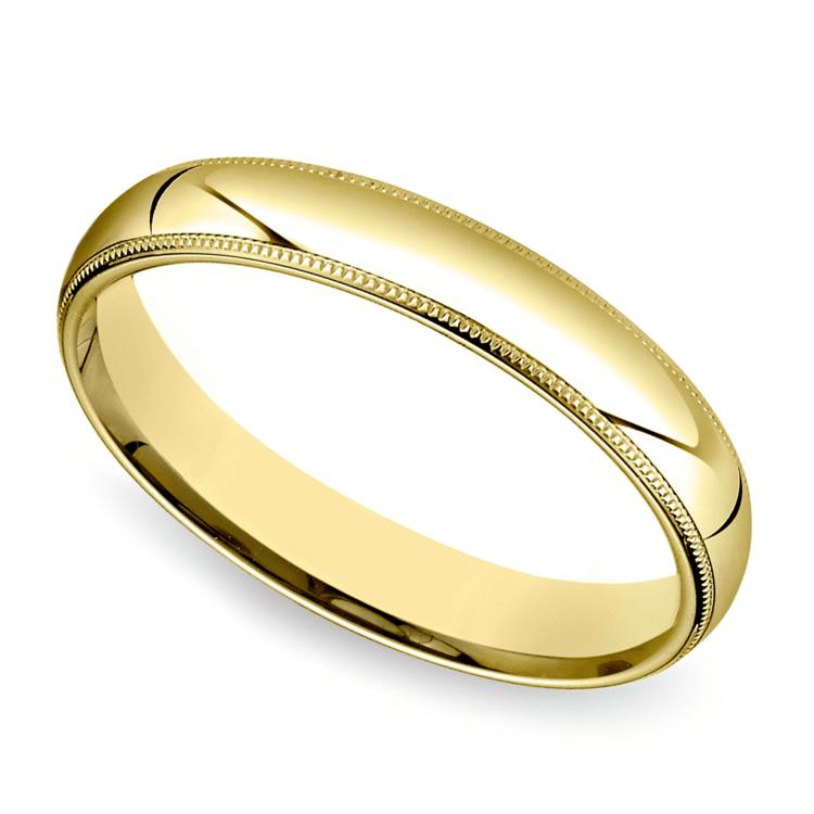 Mid-Weight Milgrain Men's Wedding Ring in Yellow Gold (4mm) | 01