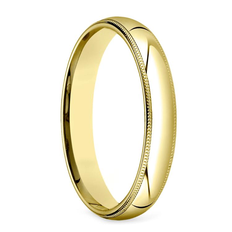 Mid-Weight Milgrain Men's Wedding Ring in Yellow Gold (4mm) | 02
