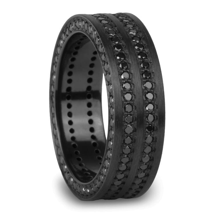 Midnight Express - Zirconium Three-Sided Black Diamond Mens Ring | 02