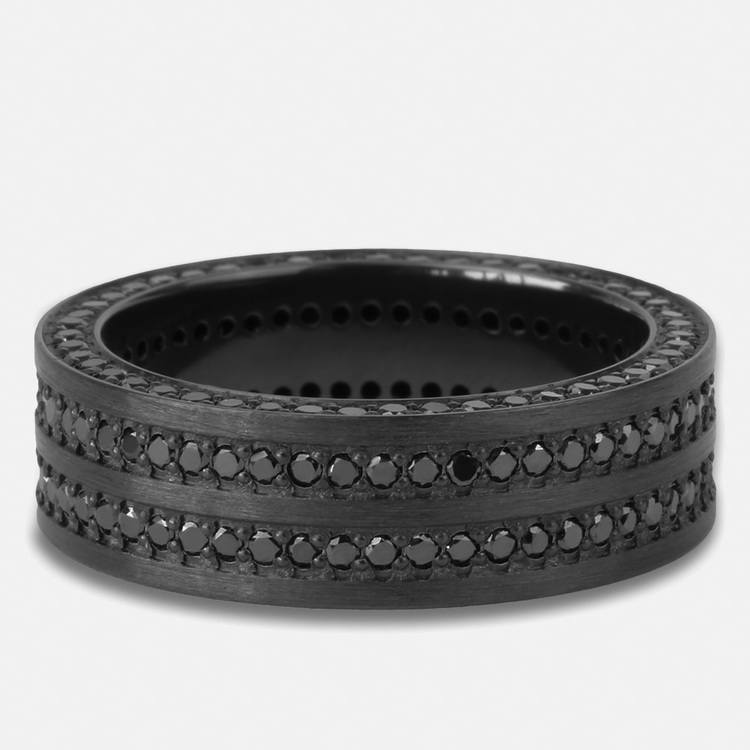 Midnight Express - Zirconium Three-Sided Black Diamond Mens Ring | 03