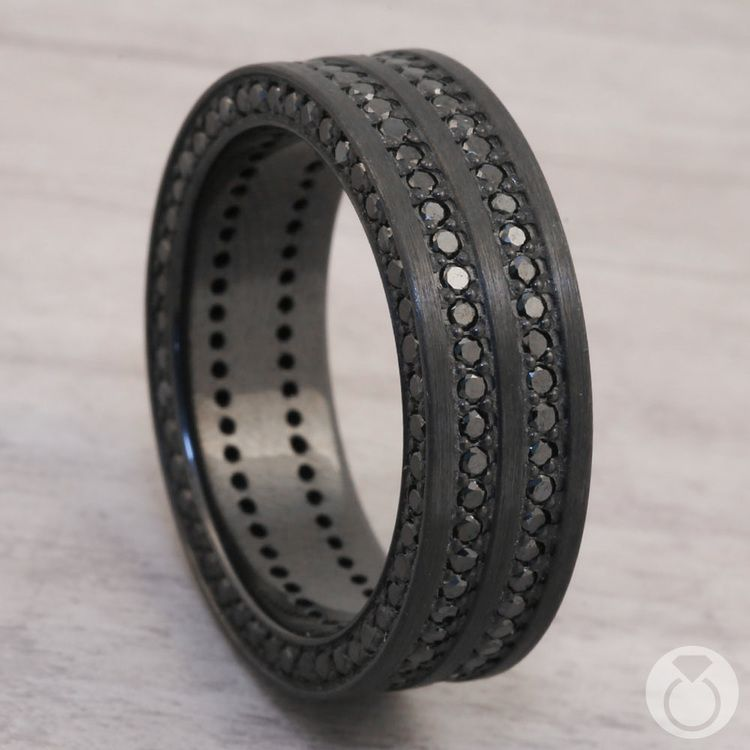 Midnight Express - Three-Sided Mens Band with Black Diamonds | 05