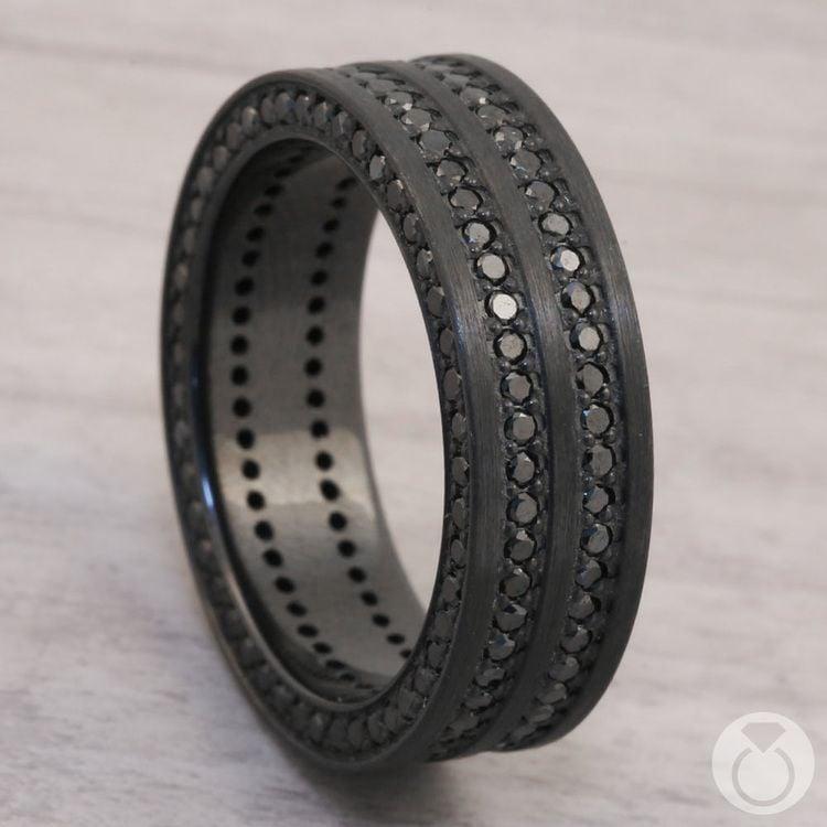 Midnight Express - Zirconium Three-Sided Black Diamond Mens Ring | 04