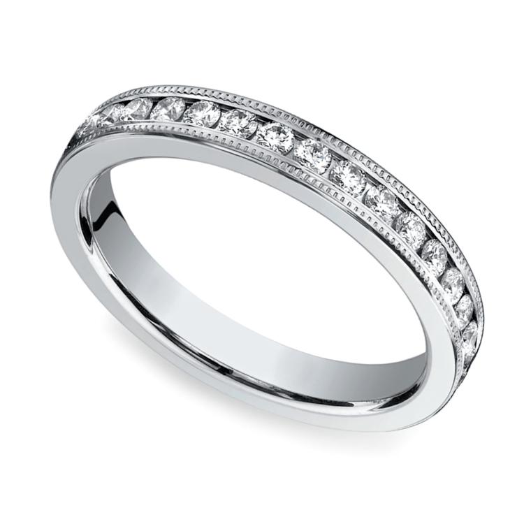 Milgrain Channel Diamond Eternity Ring in White Gold  | 01
