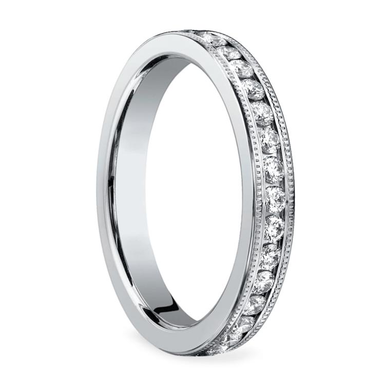 Milgrain Channel Diamond Eternity Ring in White Gold  | 02