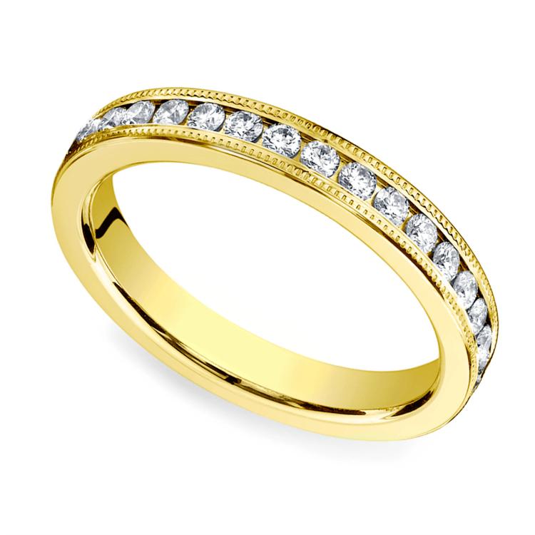 Milgrain Channel Diamond Eternity Ring in Yellow Gold  | 01