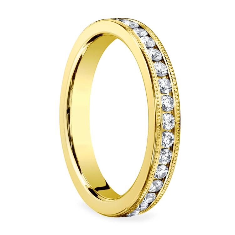 Milgrain Channel Diamond Eternity Ring in Yellow Gold  | 02
