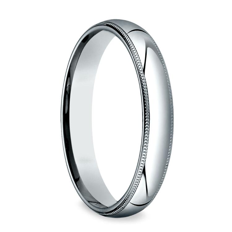 Platinum 4mm Wedding Band: Milgrain Men's Wedding Ring In Platinum (4mm
