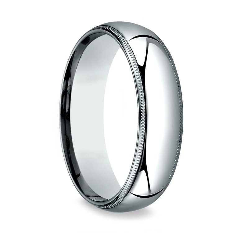 Milgrain Comfort-Fit Men's Wedding Band in Platinum (6mm) | 02
