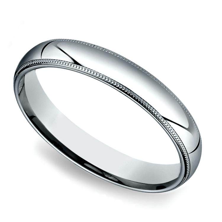Milgrain Men's Wedding Ring in White Gold (4mm) | 01
