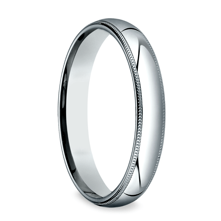 Milgrain Men's Wedding Ring in White Gold (4mm) | 02