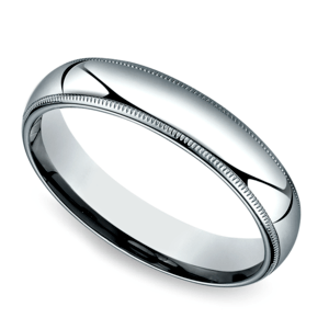 Milgrain Men's Wedding Ring in White Gold (5mm)