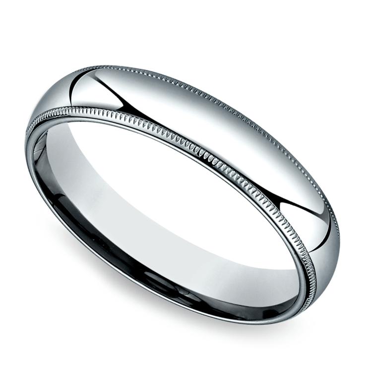 Milgrain Men's Wedding Ring in White Gold (5mm) | 01