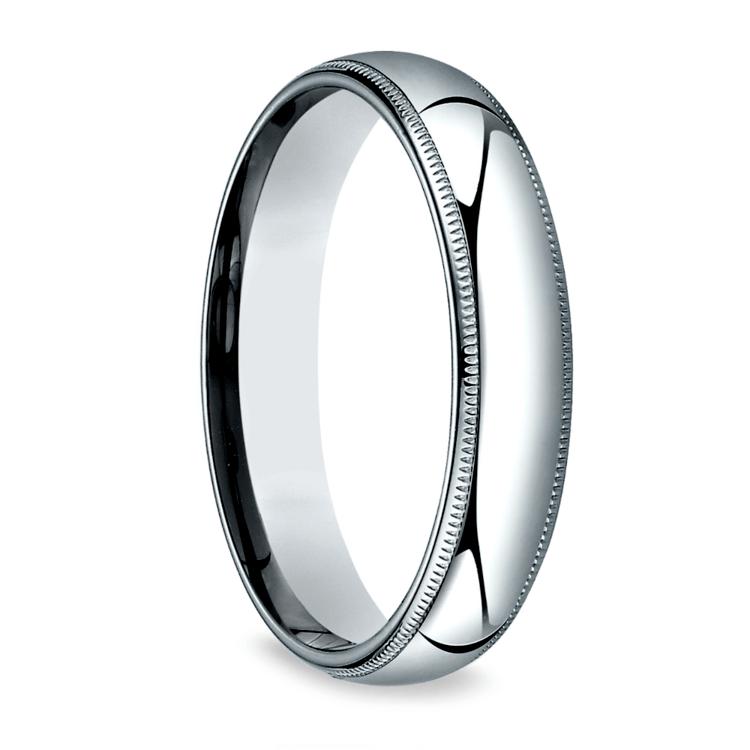 Milgrain Men's Wedding Ring in White Gold (5mm) | 02