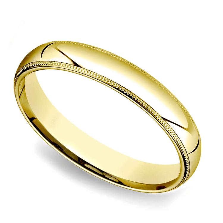 Milgrain Men's Wedding Ring in Yellow Gold (4mm) | 01