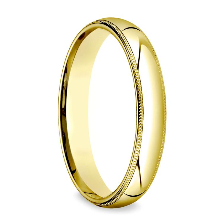 Milgrain Men's Wedding Ring in Yellow Gold (4mm) | 02