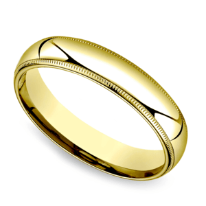 Milgrain Men's Wedding Ring in Yellow Gold (5mm)
