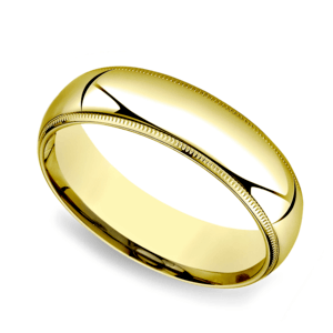 Milgrain Comfort-Fit Men's Wedding Band in Yellow Gold (6mm)