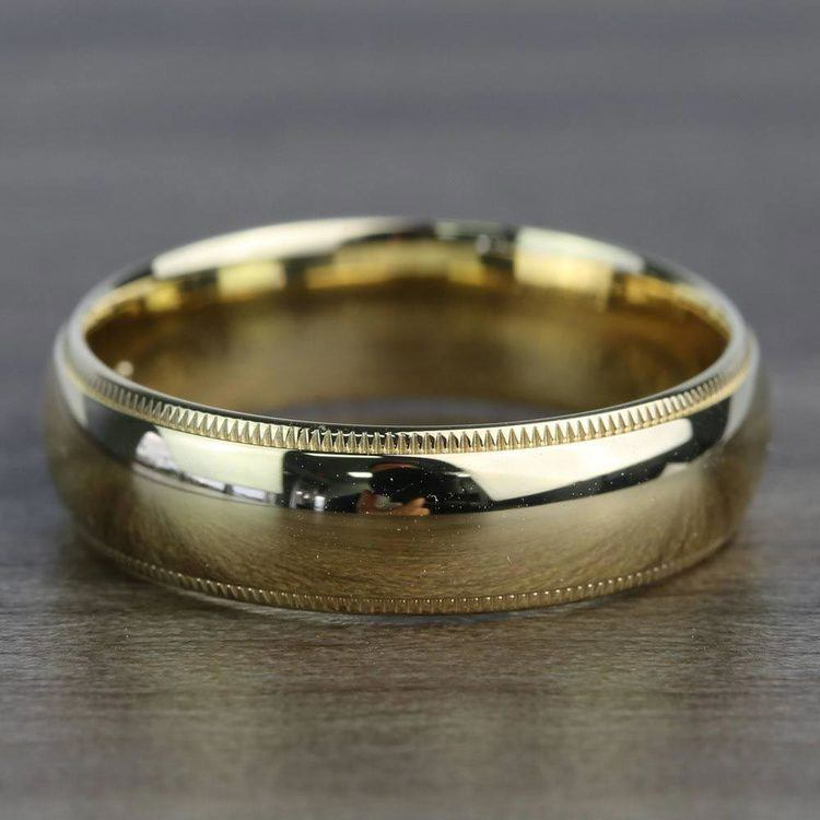 Milgrain Comfort-Fit Men's Wedding Band in Yellow Gold (6mm) | 03