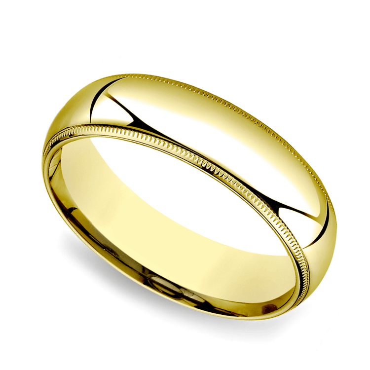 Milgrain Comfort-Fit Men's Wedding Band in Yellow Gold (6mm) | 01
