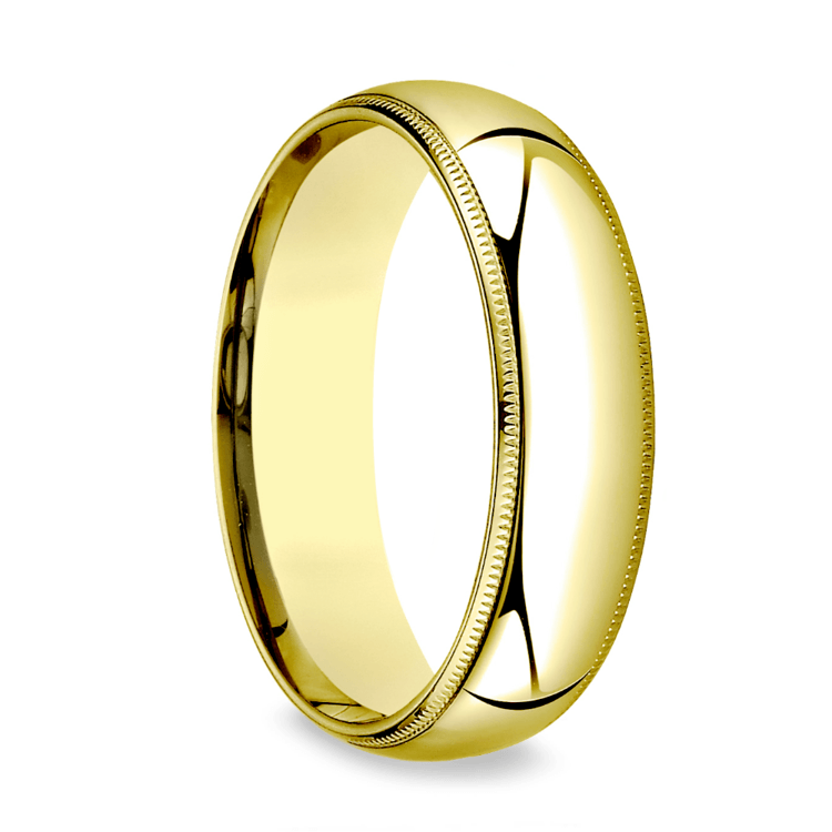 Milgrain Comfort-Fit Men's Wedding Band in Yellow Gold (6mm) | 02