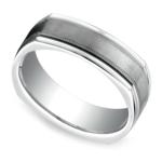 Milgrain Four-Sided Men's Wedding Ring in White Gold | Thumbnail 01